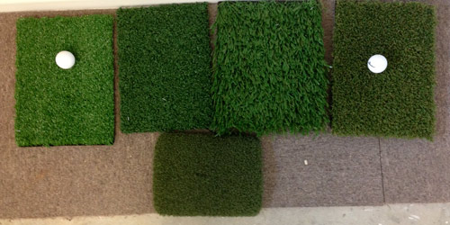 Some samples of our range of synthetic golf grasses.